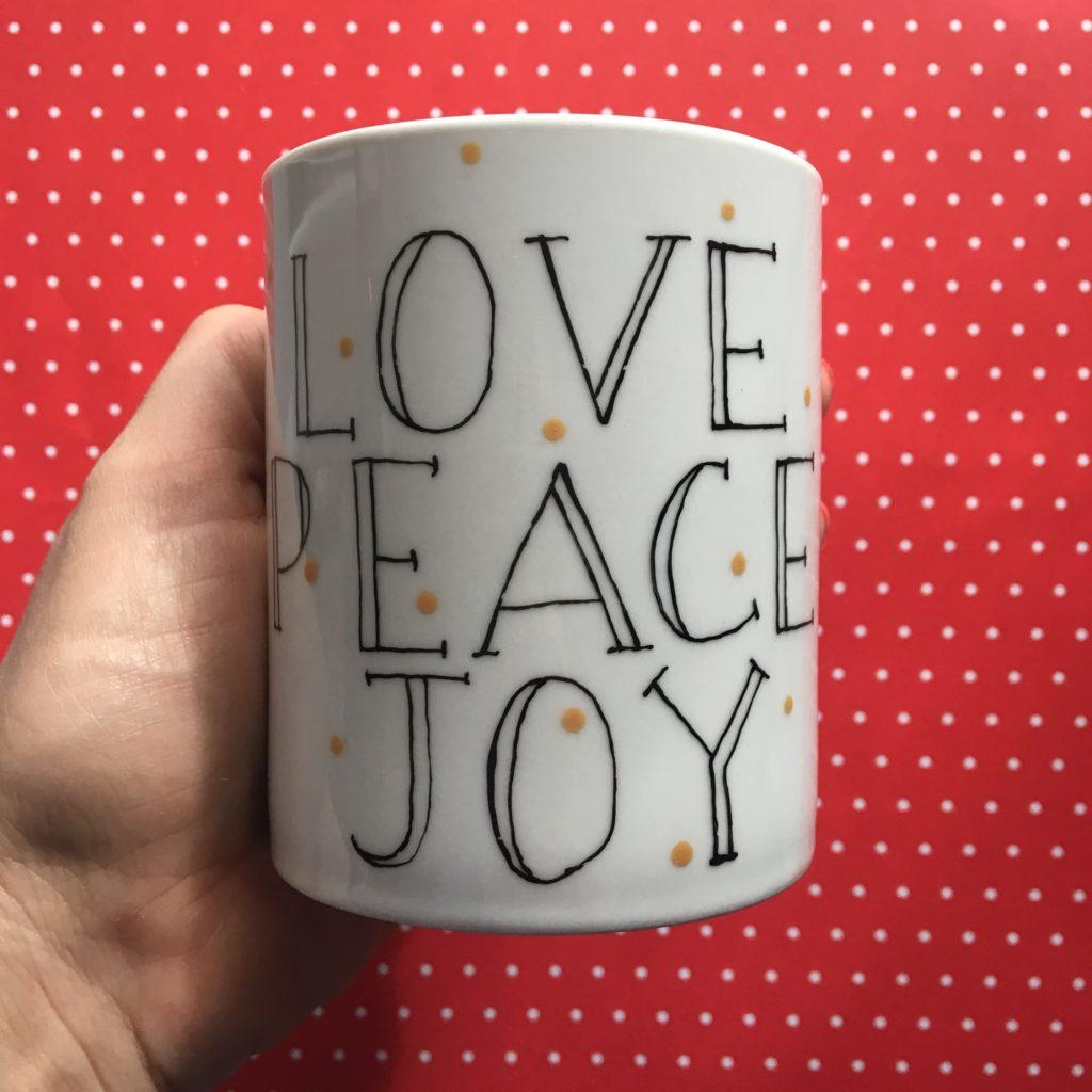 mug love peace joy