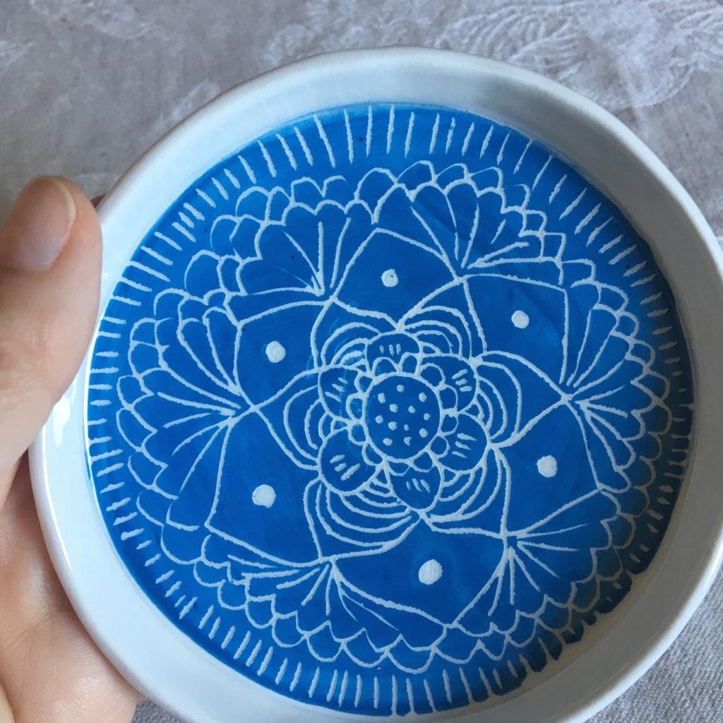 piatto mandala blu